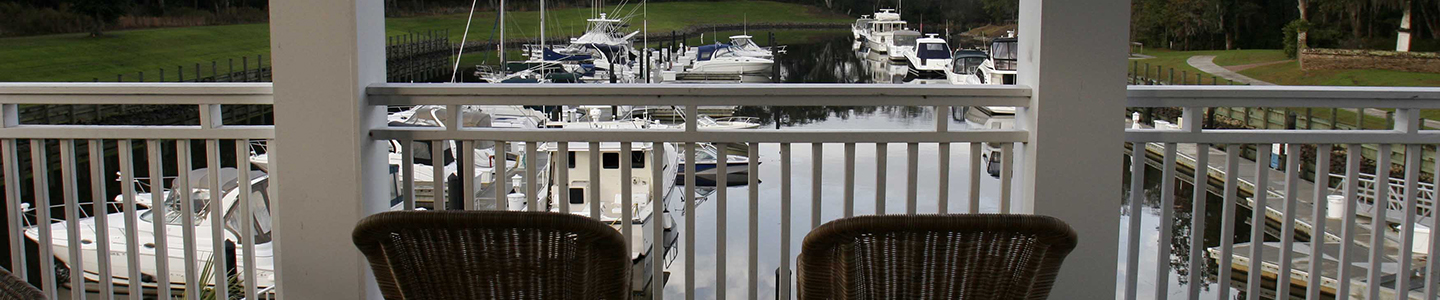 Chairs overlooking the water at Reserve Harbor Yacht Club